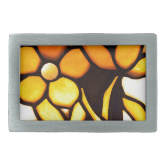 Yellow and Brown Tiffany Floral Rectangular Belt Buckle