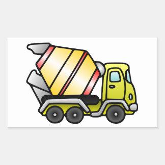 Yellow and Cement Mixer Rectangular Sticker