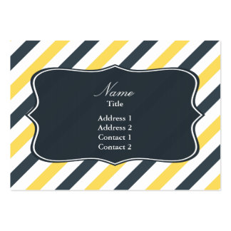 Yellow and Charcoal Grey Stripes Large Business Cards (Pack Of 100)