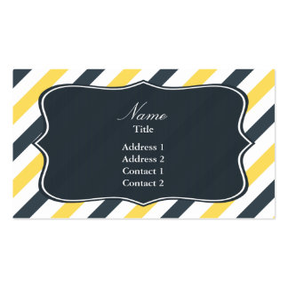Yellow and Charcoal Grey Stripes Double-Sided Standard Business Cards (Pack Of 100)