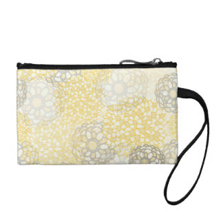 Yellow and Clay Flower Burst Design Coin Purse
