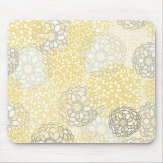 Yellow and Clay Flower Burst Design Mouse Pad