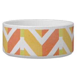 Yellow and coral chevron 3D pattern Bowl