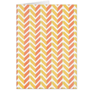 Yellow and coral chevron 3D pattern Card