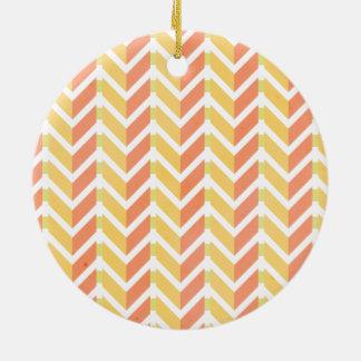 Yellow and coral chevron 3D pattern Ceramic Ornament