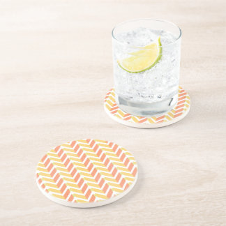 Yellow and coral chevron 3D pattern Coaster