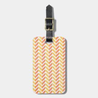 Yellow and coral chevron 3D pattern Luggage Tag