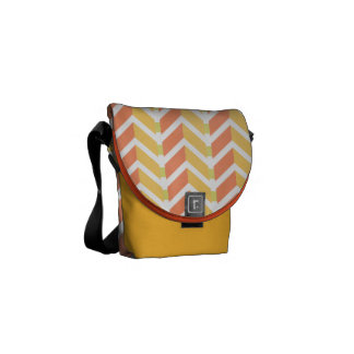 Yellow and coral chevron 3D pattern Messenger Bags