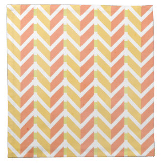 Yellow and coral chevron 3D pattern Napkin