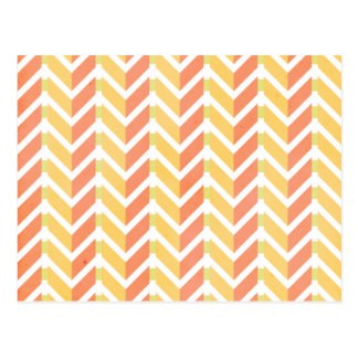 Yellow and coral chevron 3D pattern Postcard