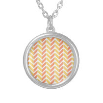 Yellow and coral chevron 3D pattern Silver Plated Necklace