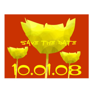 Yellow and Coral Save The Date Poppy Postcard