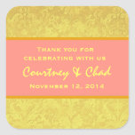 Yellow and Coral Thank You Wedding R312J Square Stickers