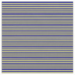 [ Thumbnail: Yellow and Dark Blue Colored Stripes Fabric ]