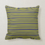 [ Thumbnail: Yellow and Dark Blue Colored Stripes Throw Pillow ]