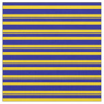 [ Thumbnail: Yellow and Dark Blue Lines/Stripes Pattern Fabric ]