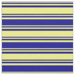 [ Thumbnail: Yellow and Dark Blue Striped Pattern Fabric ]