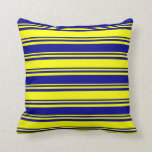 [ Thumbnail: Yellow and Dark Blue Striped Pattern Throw Pillow ]