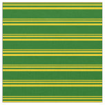 [ Thumbnail: Yellow and Dark Green Colored Striped Pattern Fabric ]