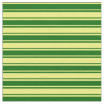 [ Thumbnail: Yellow and Dark Green Colored Stripes Pattern Fabric ]