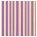 [ Thumbnail: Yellow and Dark Orchid Stripes Pattern Fabric ]