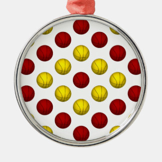 Yellow and Dark Red Basketball Pattern Metal Ornament