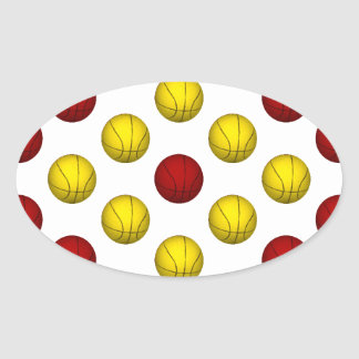 Yellow and Dark Red Basketball Pattern Oval Sticker