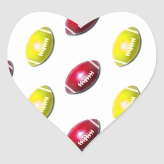Yellow and Dark Red Football Pattern Heart Sticker