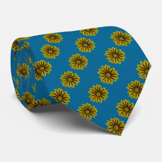 yellow and deep red flower art print neck tie