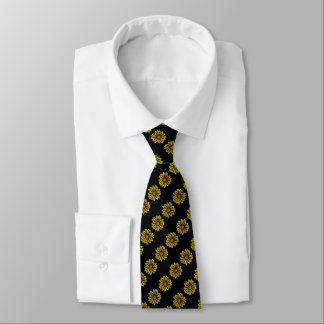 yellow and deep red flower art print tie