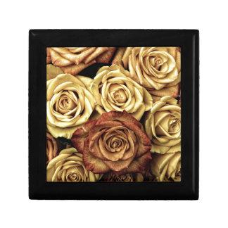 yellow and dusty pink roses keepsake box