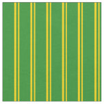 [ Thumbnail: Yellow and Forest Green Colored Pattern Fabric ]