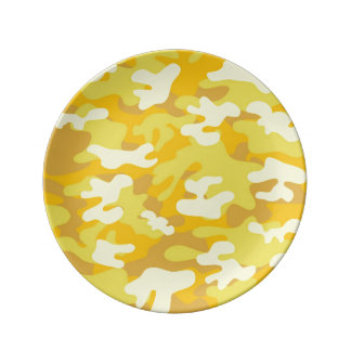 Yellow and Gold Camo Design Porcelain Plate
