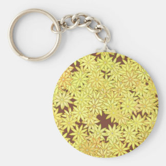 Yellow and gold Daisies on Chocolate Brown Keychain