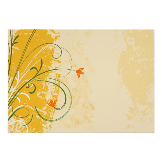 yellow and gold flowers swirl vintage design poster