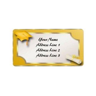 Yellow and Gold Grauation Address Labels