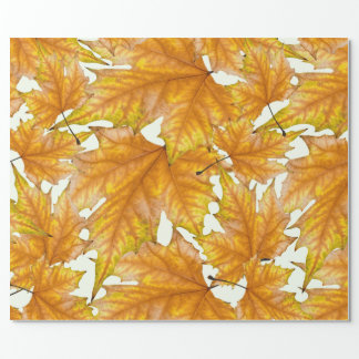 Yellow and gold maple leaves wrapping paper