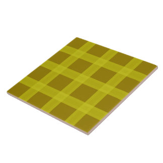 Yellow And Gold Plaid Pattern Ceramic Tile
