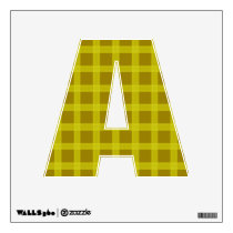 Yellow And Gold Plaid Pattern  Letter A Wall Sticker