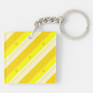 Yellow and Gold Stripe Pattern Double-Sided Square Acrylic Keychain
