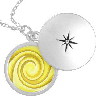 Yellow And Gold Swirls Locket Necklace