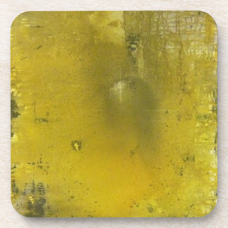 Yellow and gray abstract drink coaster