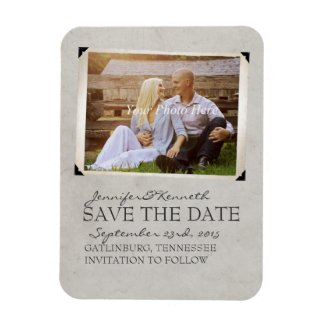 Yellow and Gray Anchor Beach Save The Date Rectangle Magnet