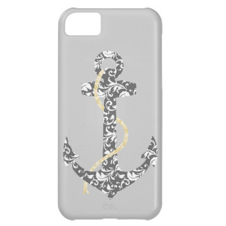 Yellow and Gray Anchor Beach Wedding Case For iPhone 5C
