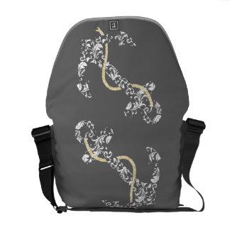Yellow and Gray Anchor Beach Wedding Messenger Bag