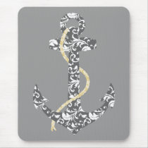 Yellow and Gray Anchor Beach Wedding Mouse Pad