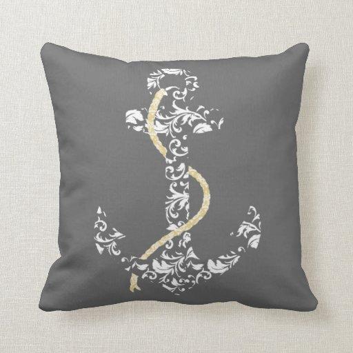 Yellow Beach Throw Pillows : Yellow and Gray Anchor Beach Wedding Throw Pillow Zazzle