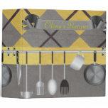 Yellow and Gray Argyle Recipe Binder