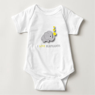 Yellow and Gray Baby Elephant Baby Bodysuit