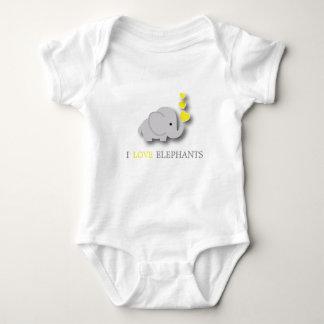 Yellow and Gray Baby Elephant Baby Bodysuit